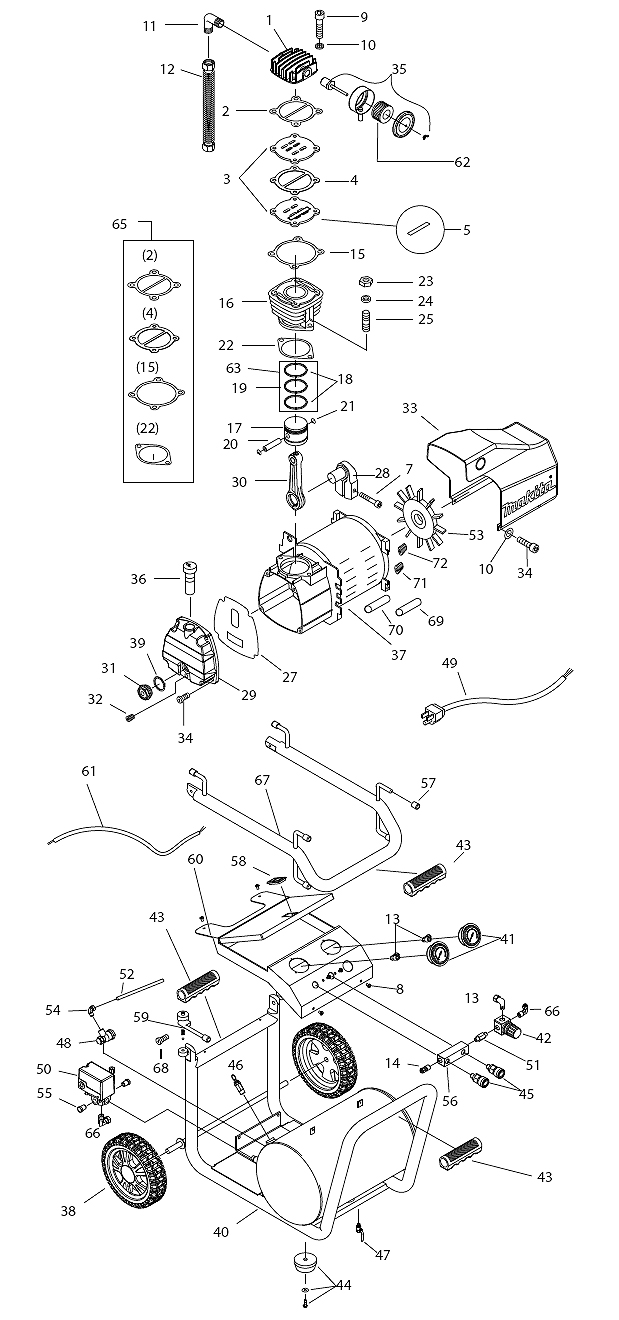 Makita MAC5200 Parts List | Makita MAC5200 Repair Parts | OEM Parts on