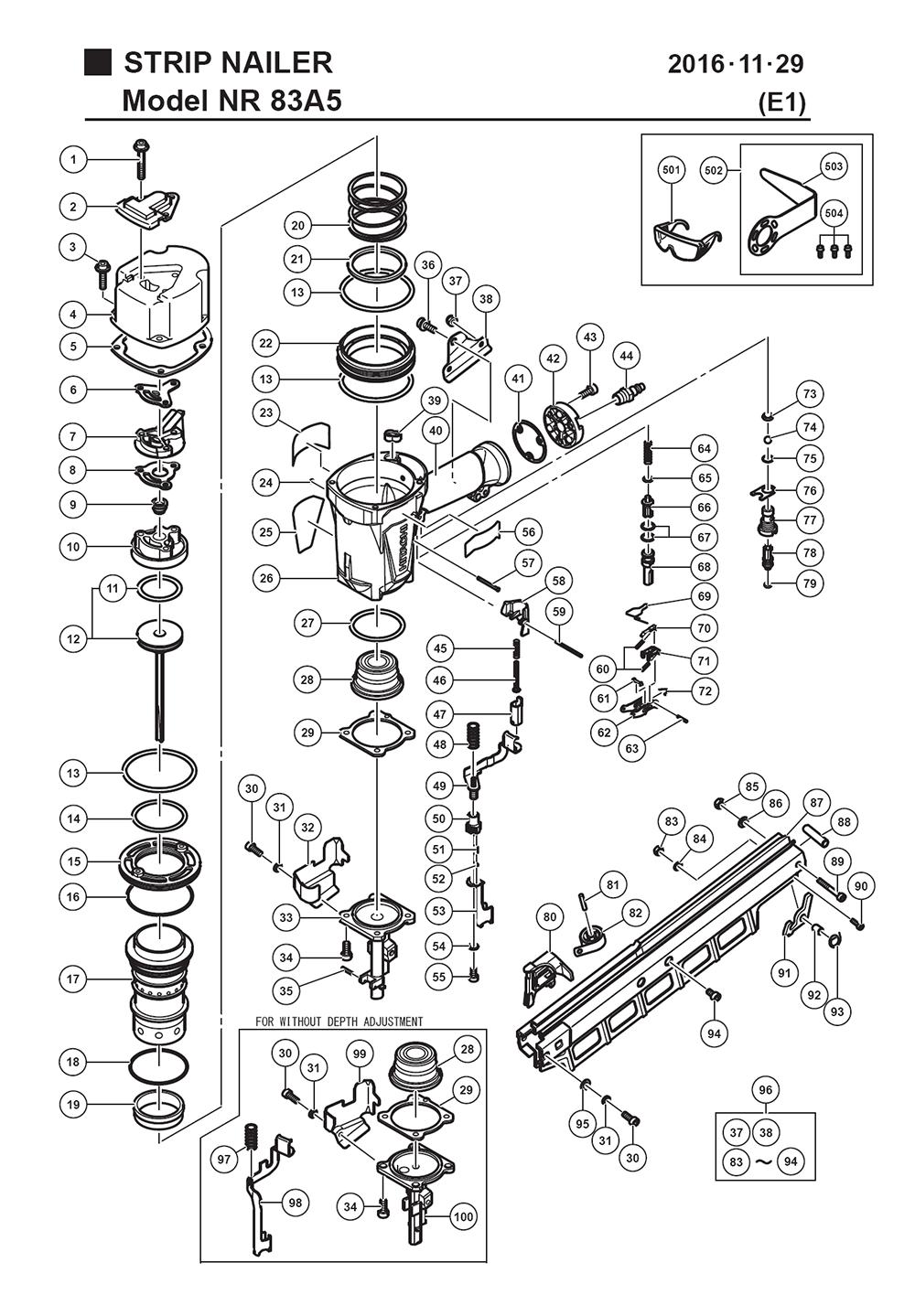 Hitachi    NR83A5 Parts List      Hitachi    NR83A5 Repair Parts