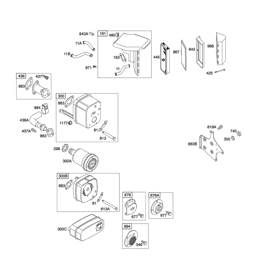 Briggs and Stratton 19G412-(0129)-01 Parts Schematic