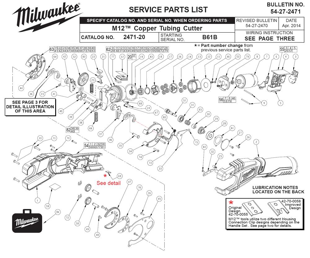 Milwaukee 2471-21-(B61B) Parts Schematic