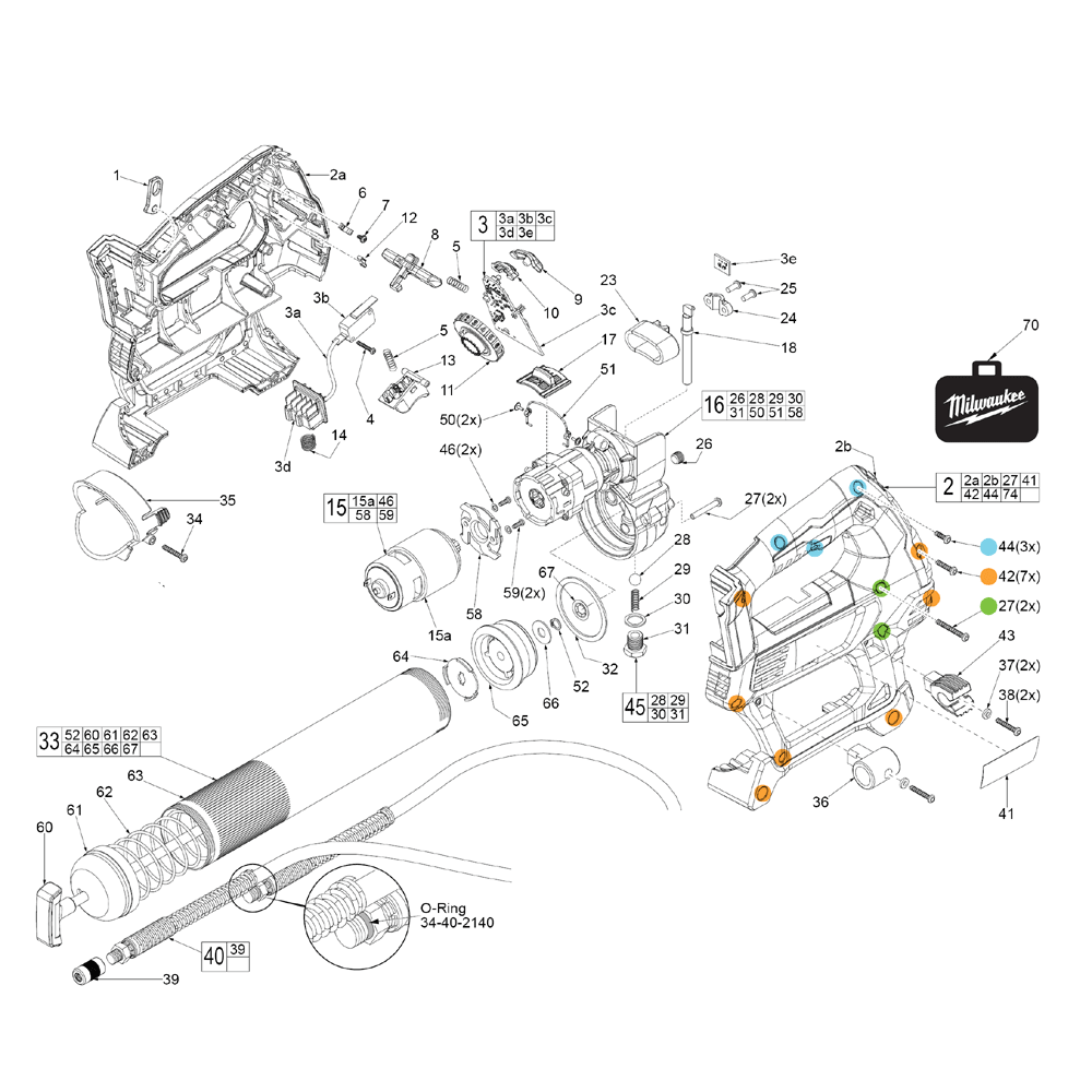 Milwaukee 2646 20 E98a Parts List Holster Replacement Motor Repalcement And Diagram Schematic