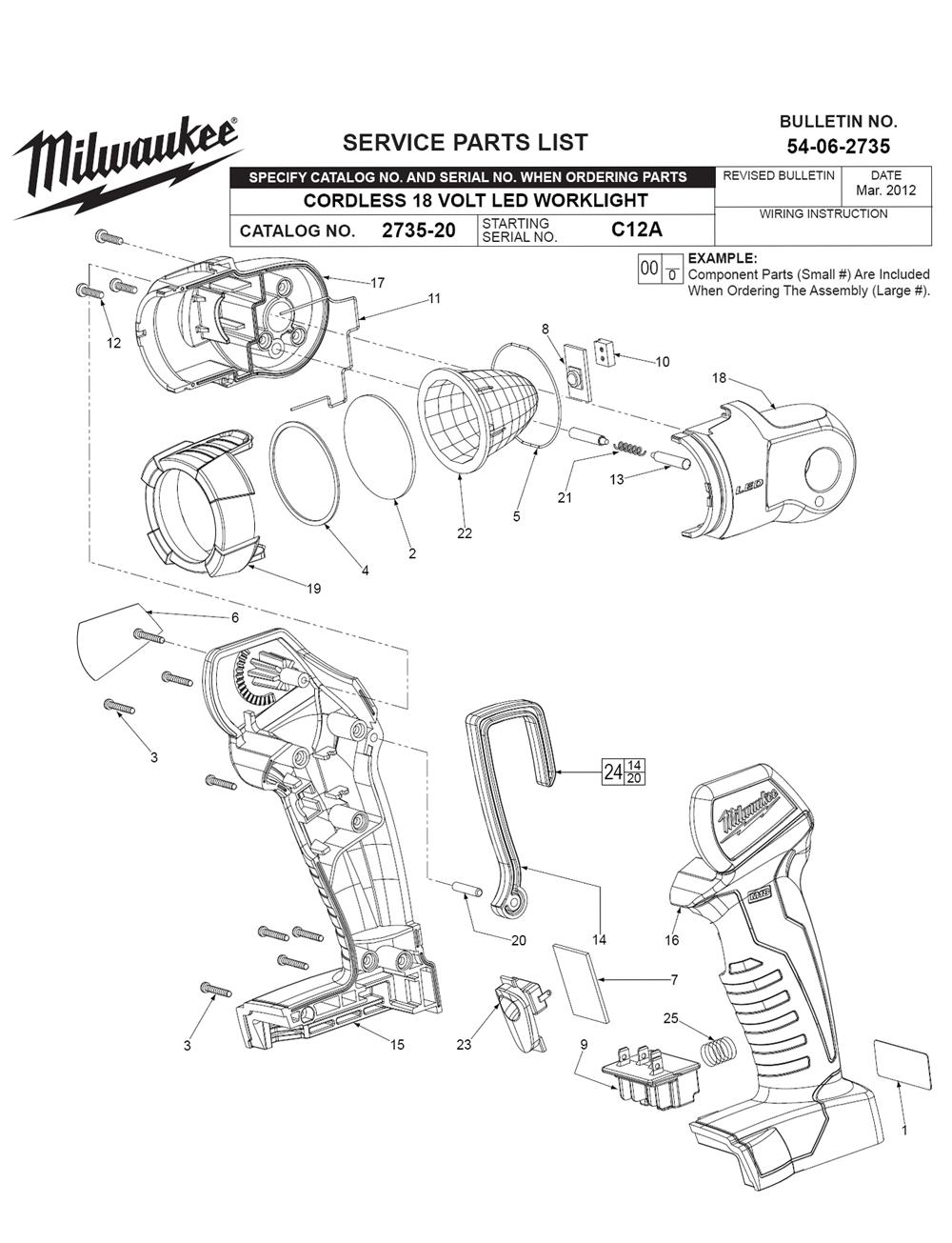 milwaukee 2735 20 c12a parts list milwaukee 2735 20 c12a repair Maglite Flashlight Diagram milwaukee 2735 20 c12a parts schematic