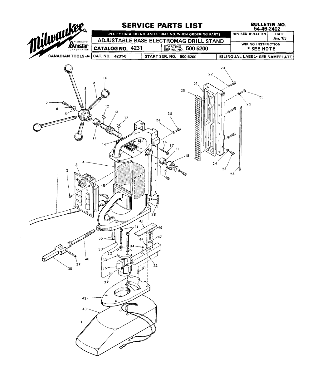 Milwaukee 4231 500 5200 Parts List Drill Diagram Wiring For Model Schematic