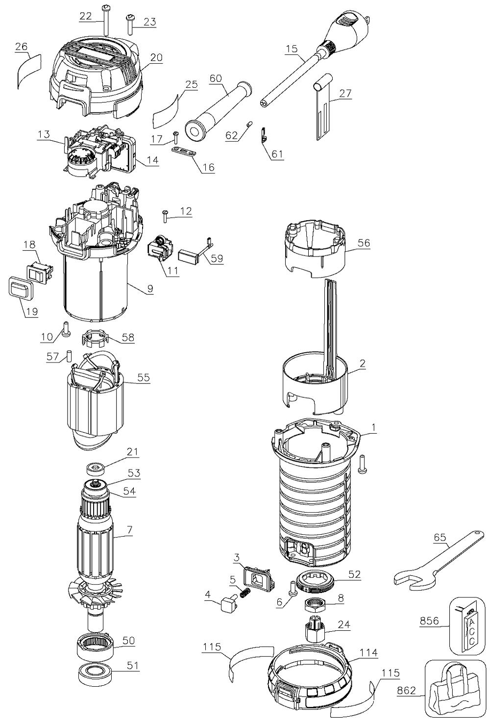 porter cable 450 parts list