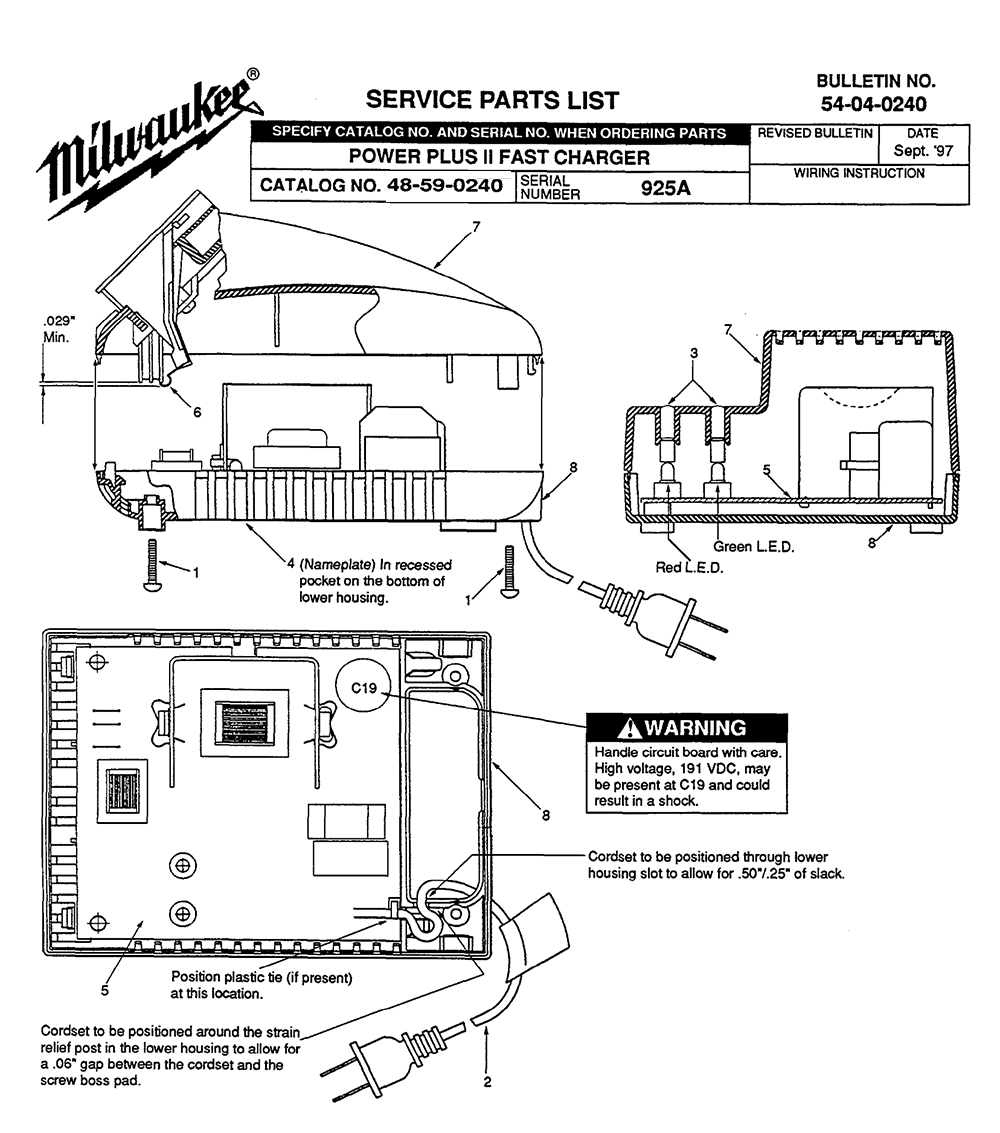 Milwaukee Battery Charger Schematic Diagram Reinvent Your Wiring Powerwise 48 59 0240 925a Parts List Rh Repairtoolparts Com General Electric