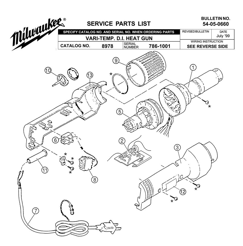 Milwaukee 8978-( 786-1001) Parts List | Milwaukee 8978-( 786-1001) Repair  Parts | OEM Parts with Schematic Diagram