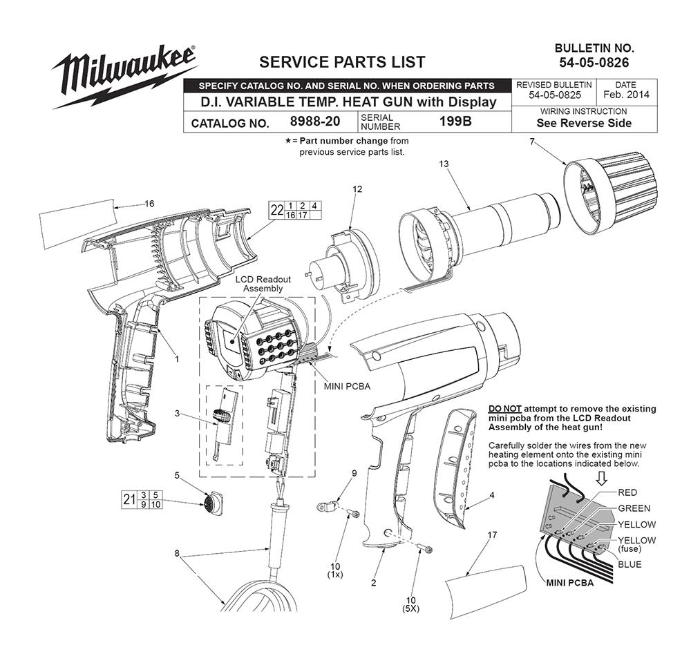 Milwaukee 8985-(199B) Parts List | Milwaukee 8985-(199B) Repair Parts | OEM  Parts with Schematic DiagramRepair Tool Parts