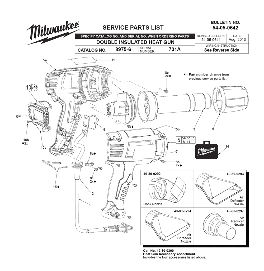 Milwaukee 8985-(731A) Parts List | Milwaukee 8985-(731A) Repair Parts | OEM  Parts with Schematic DiagramRepair Tool Parts