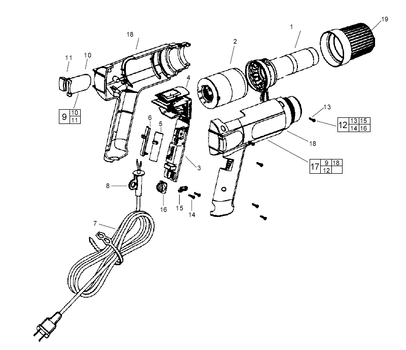 Milwaukee 8988-20 Parts List | Milwaukee 8988-20 Repair Parts | OEM Parts  with Schematic DiagramRepair Tool Parts