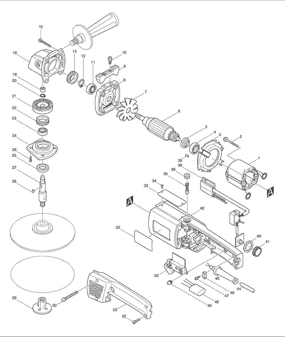 Makita 9217spc Parts List Repair Oem Chicago 7 Polisher Wire Diagram Schematic