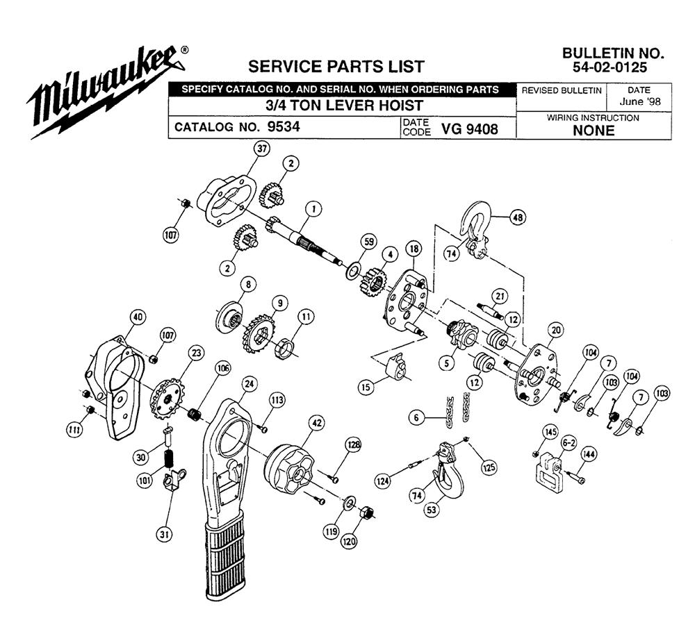 Milwaukee 9534 Vg 9408 Parts List Milwaukee 9534 Vg