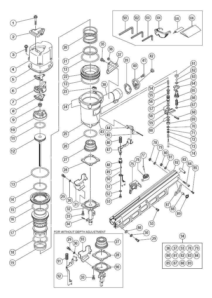 Hitachi NR83A2 Parts List | Hitachi NR83A2 Repair Parts ...