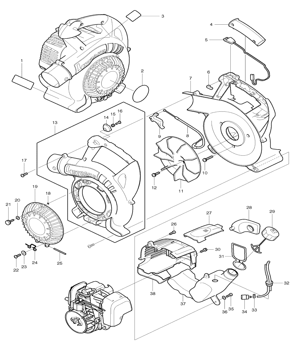 Makita Bhx2500ca Parts List Repair Oem Blower Wiring Diagram Schematic
