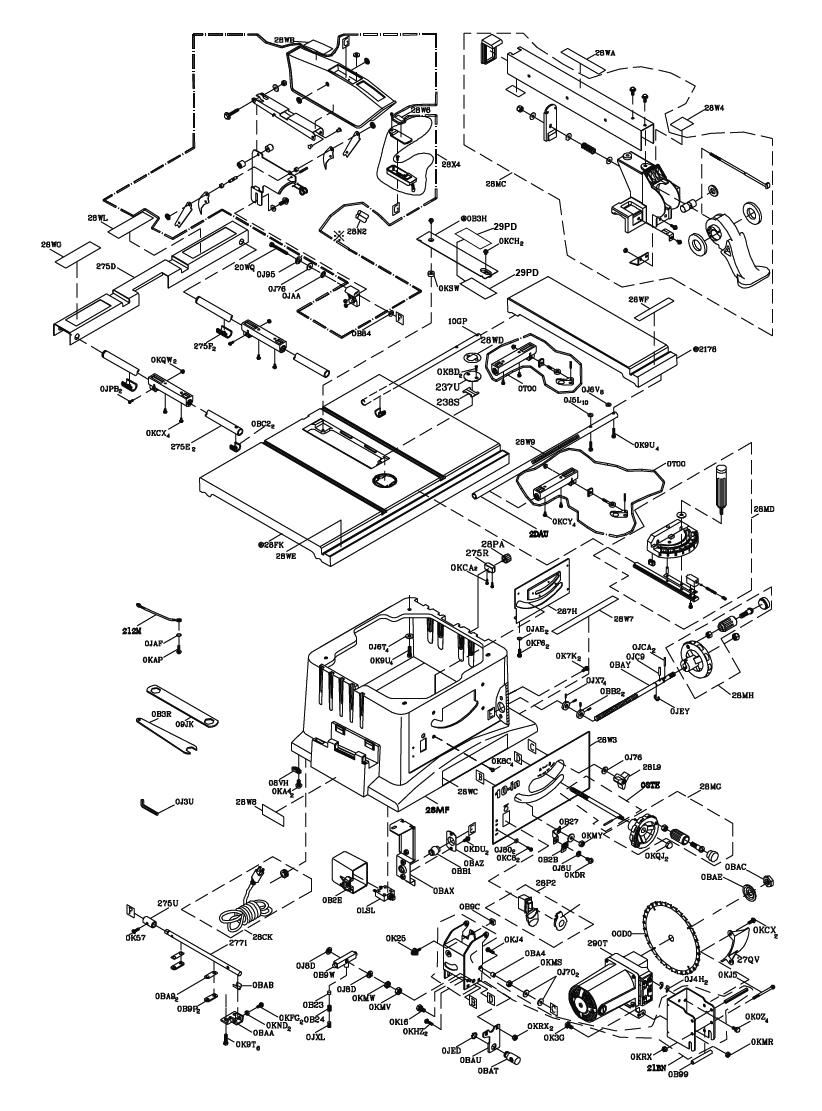 Table Saw Parts List Wiring Diagram For Craftsman Hitachi Repair Oem 822x1111