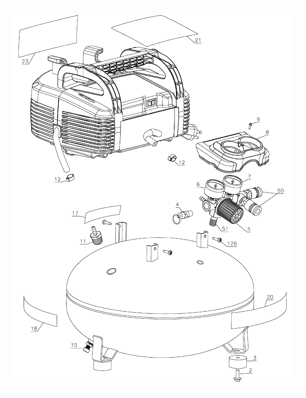 Porter Cable C2002 Type 9 Parts List Air Compressor Schematic