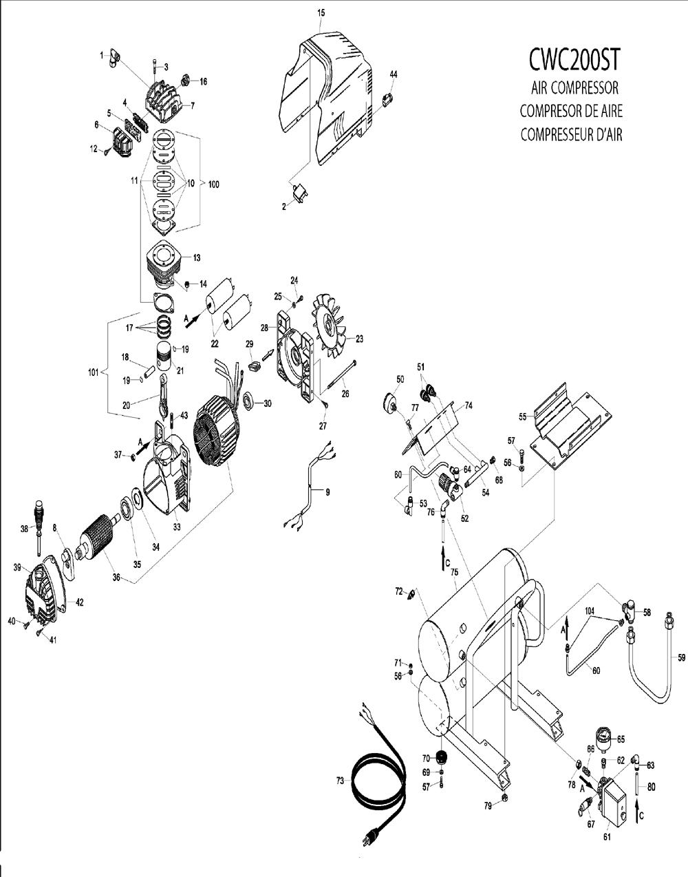 Bostitch Cwc200st Parts List