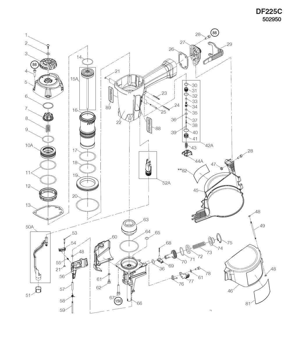 Duo Fast Df225c Parts List Duo Fast Df225c Repair Parts