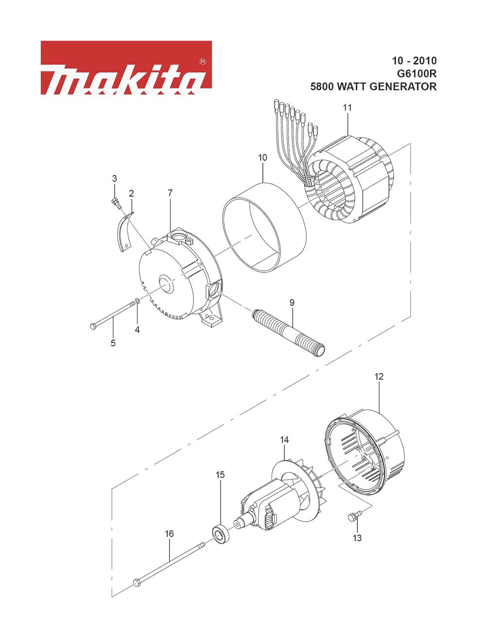 Makita G6100R-Type-2 Parts List | Makita G6100R-Type-2 Repair Parts on