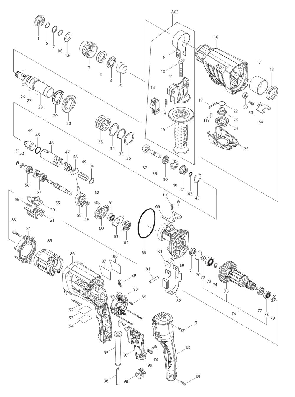 makita hr2631f parts list