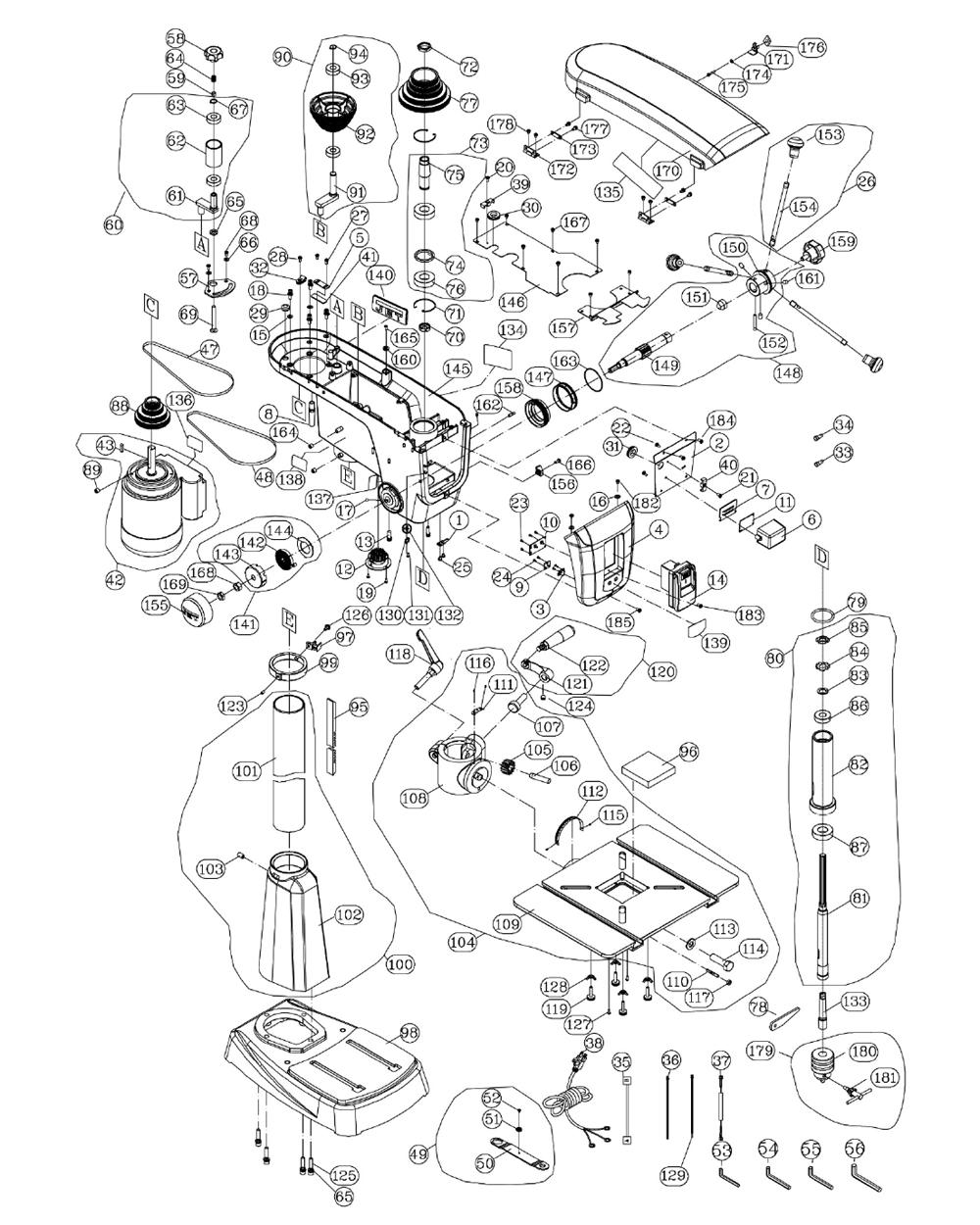wilton drill press parts diagram