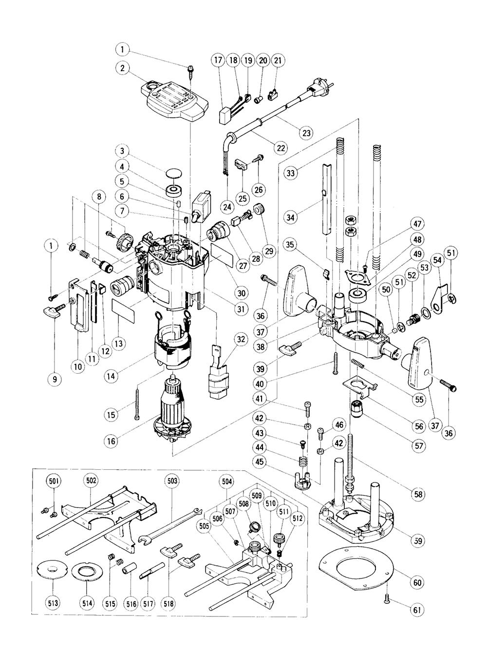 Hitachi M8 Parts List