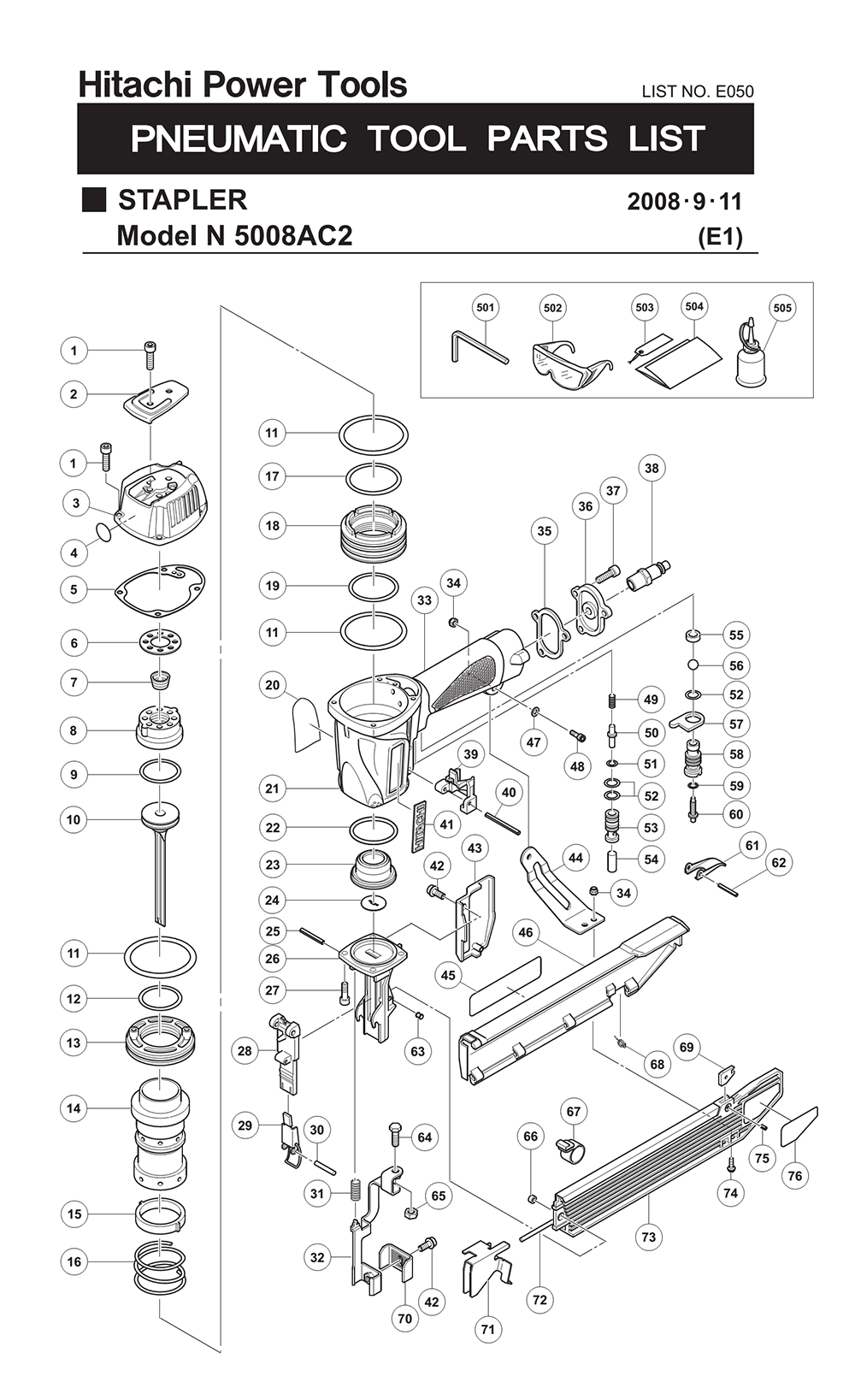 Hitachi N5008ac2 Parts Manual Guide