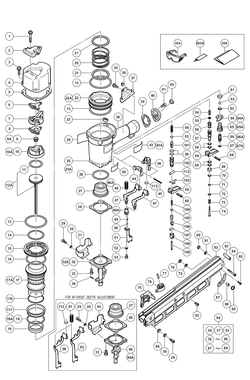 Hitachi    NR83A2 Y  Parts List      Hitachi    NR83A2 Y  Repair