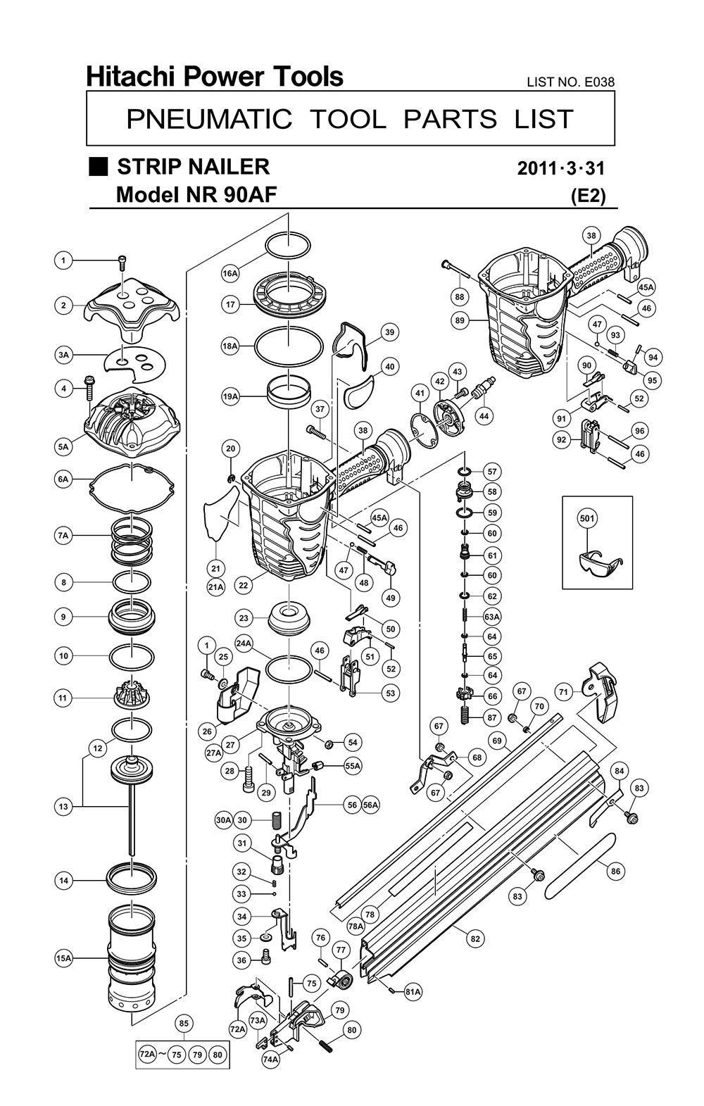 Hitachi Nr90af Parts List