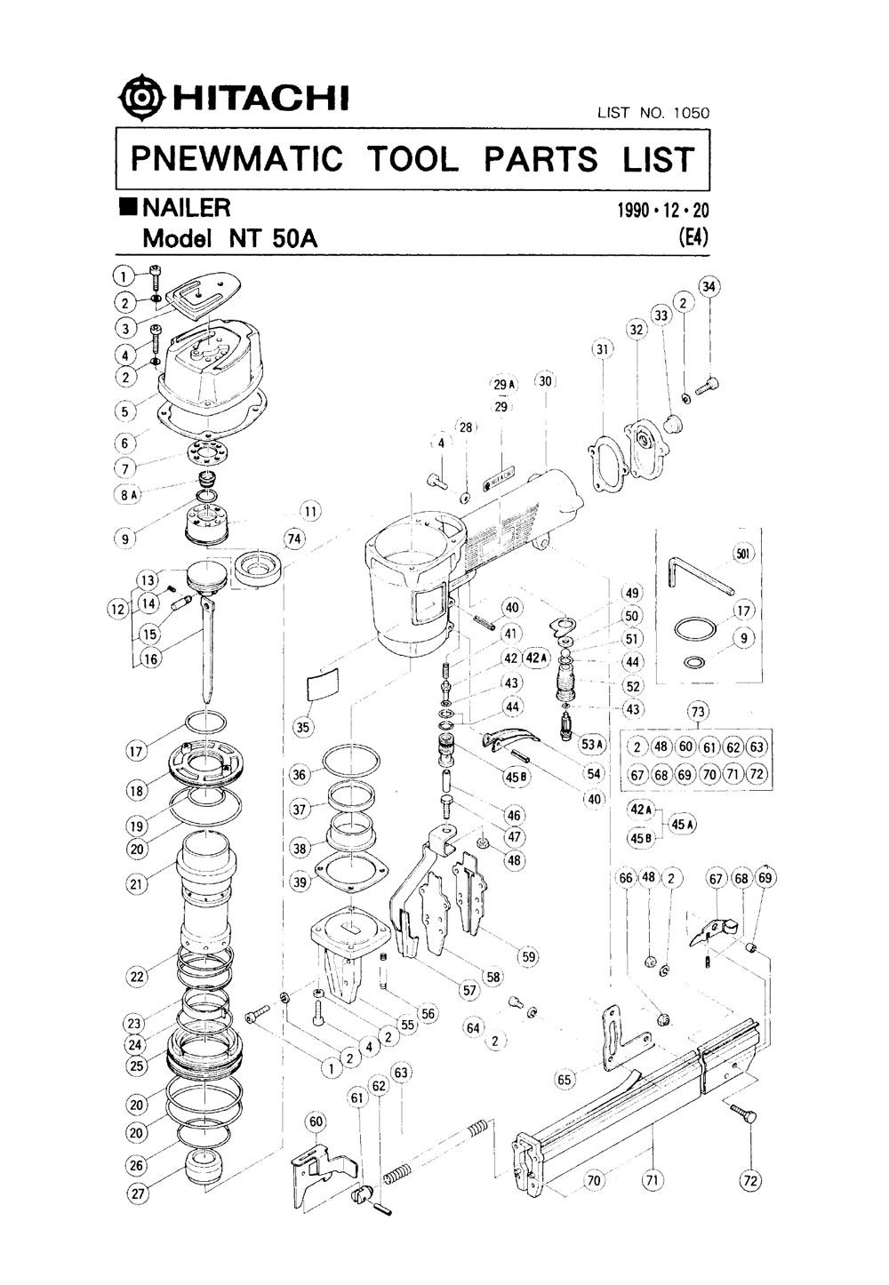 NT65A SP 876-172 NT50A Aftermarket Cylinder Spring for Hitachi NV45AB