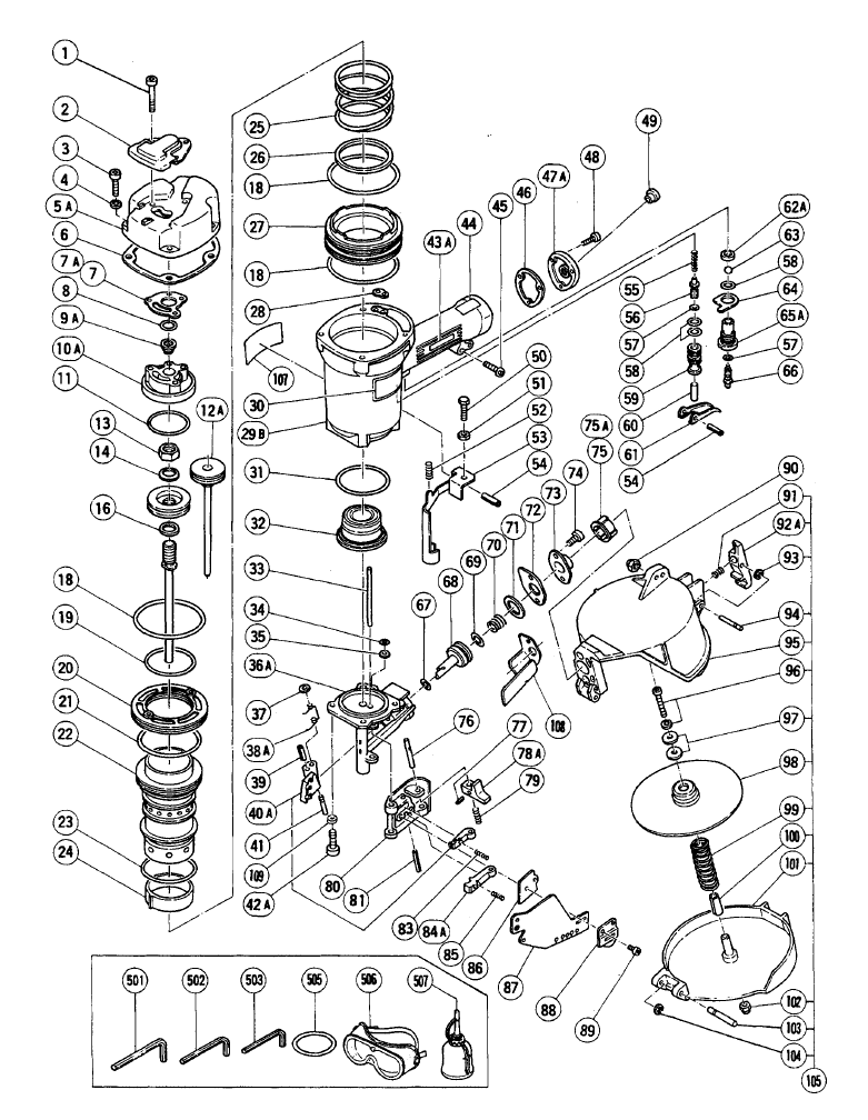 Hitachi NV65AC Parts List | Hitachi NV65AC Repair Parts | OEM Parts ...
