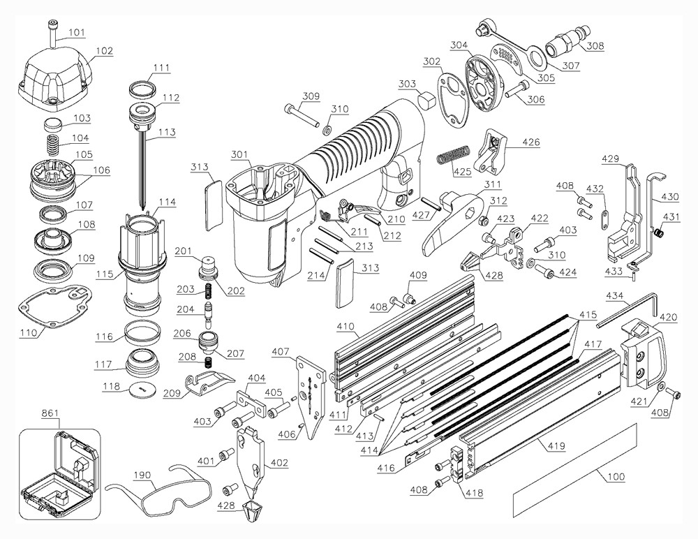 Porter Cable Pin138 Parts List