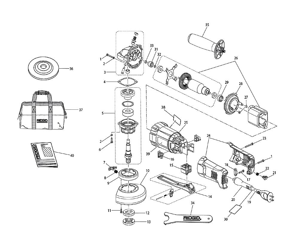 Ridgid R1001 Parts List