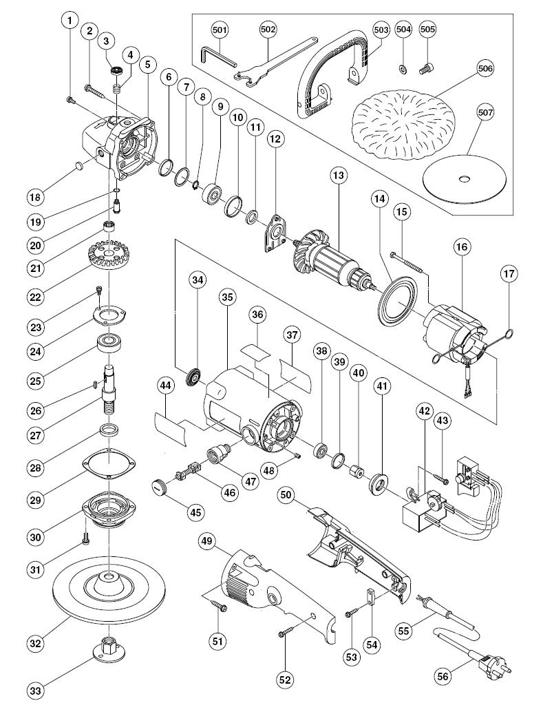 Hitachi Sp18va Parts List Repair Oem Chicago 7 Polisher Wire Diagram Schematic